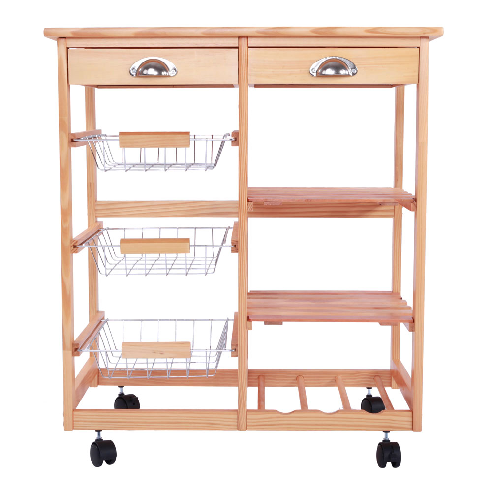 ktaxon rolling wood kitchen trolley island utility storage cart with drawers basketson wheels