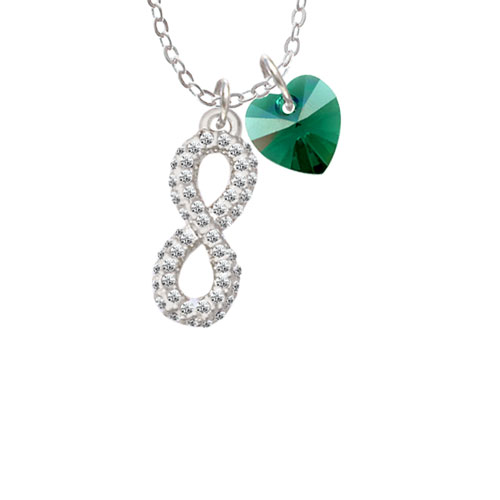 """Crystal Infinity Sign Clear AB Crystal Heart Sophia Necklace, 18""""+1"""" by Delight and Co."""