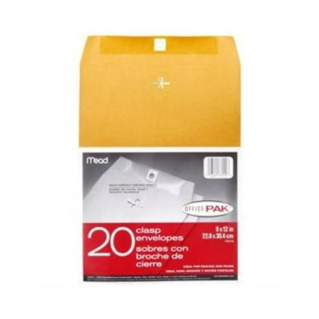 Mead Products 76020 Mead Products 76020 9 in. X 12 in. Heavyweight Clasp Envelopes 20 Count