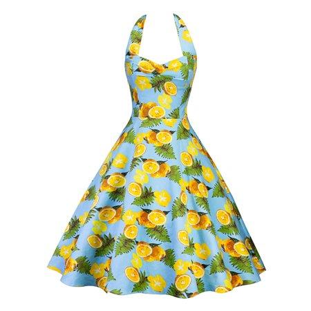 Swing Dress Women Vintage Retro 50s 60s Floral Print Pinup Evening Party Halter Neck Sleeveless Rockabilly Retro Dress
