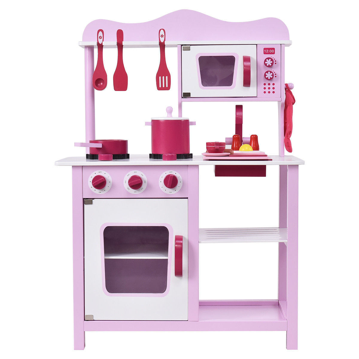 Costway Wooden Kitchen Toy Playset Kids Children Cooking Pretend Play Set Toddler Gift by Costway