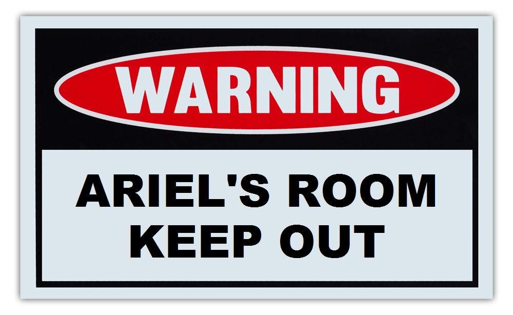 "Novelty Warning Sign: Ariel's Room Keep Out For Boys, Girls, Kids, Children Post on Bedroom Door 10"" x 6""... by Crazy Sticker Guy"