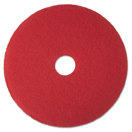 """3M Low-Speed Buffer 5100 15"""" Floor Pads, Red, 5 count"""