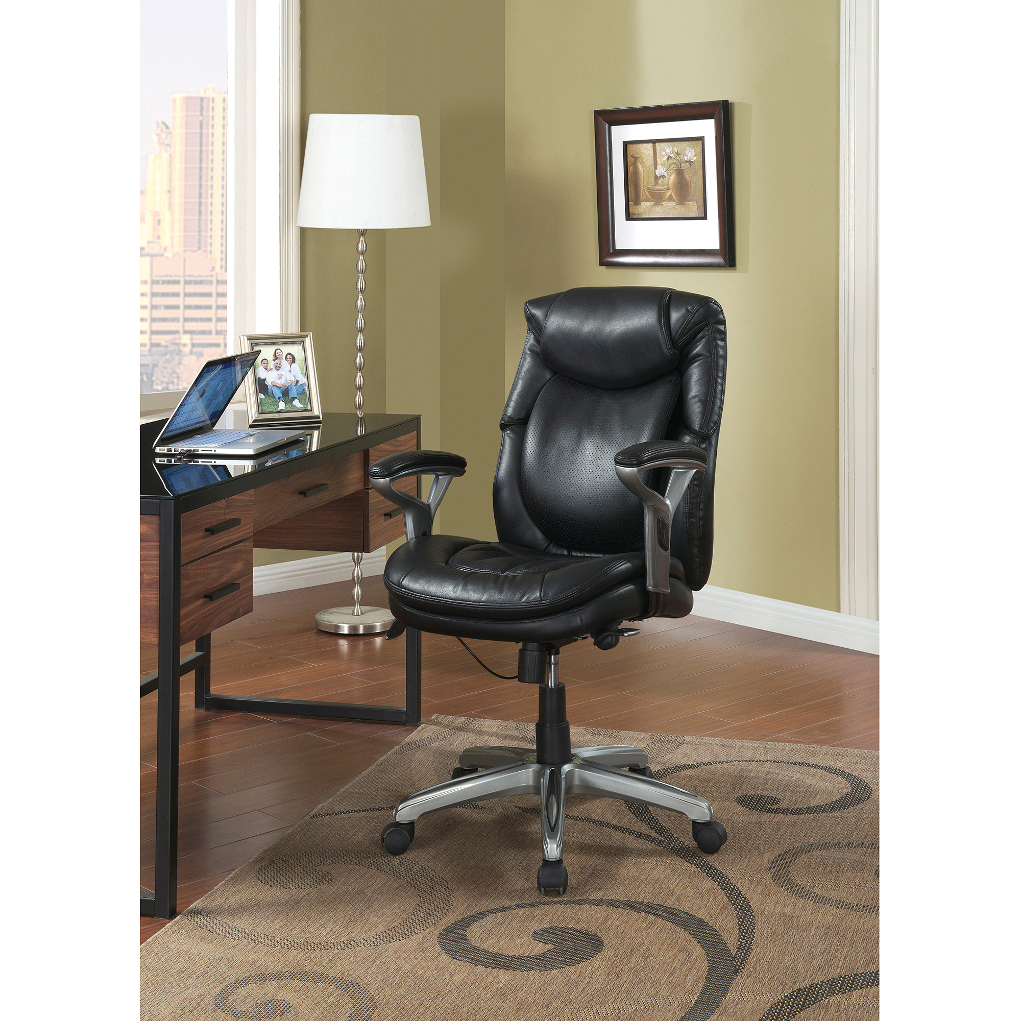Serta AIR Health and Wellness Mid Back Office Chair Bonded Leather