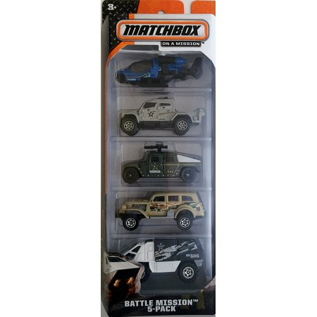 Deluxe 2014 Battle Mission 5-Pack Case B Helicopter International Humvee, Matchbox 2014 Series By Matchbox Ship from US