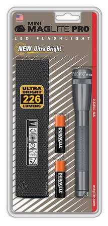 Maglite Mini Incandescent 2-Cell AA Flashlight with Holster Gray