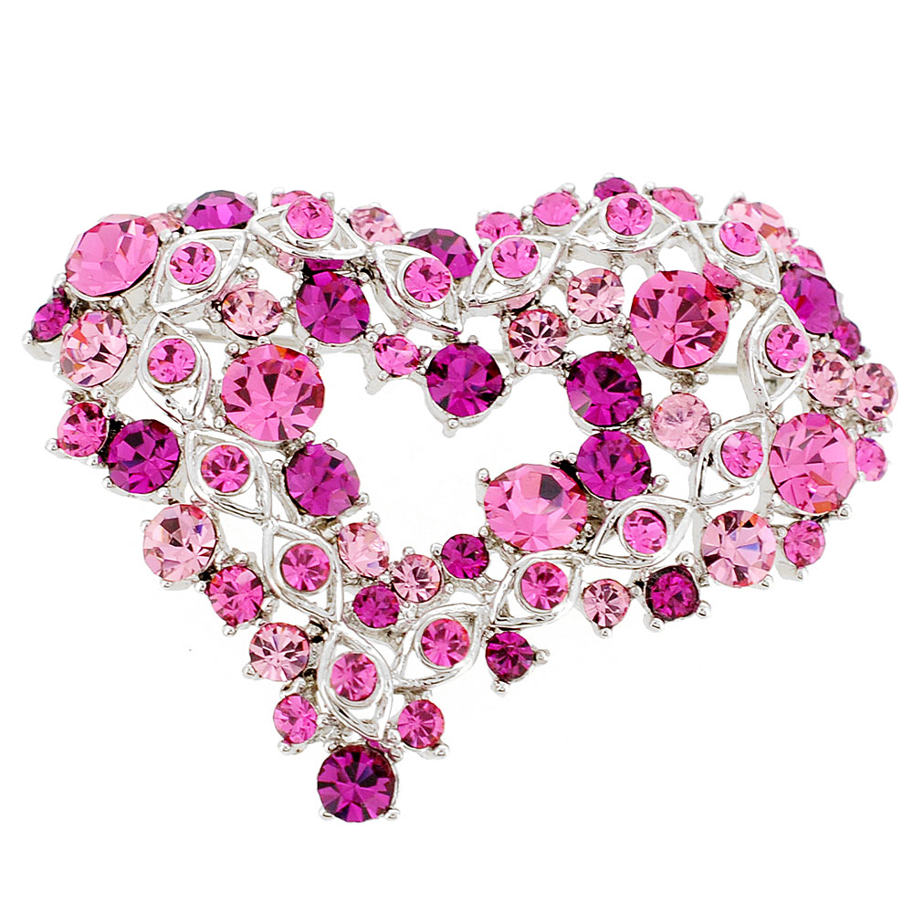 Pink Heart Crystal Pin Brooch by