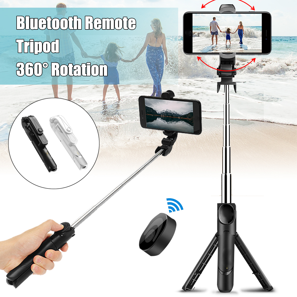 Black 3-IN-1 Extendable Selfie Stick 7.5''-26.8'' + Bluetooth Remote Control Shutter + Handheld Monopod Tripod Mount for iPhone & Android Universal Smartphone