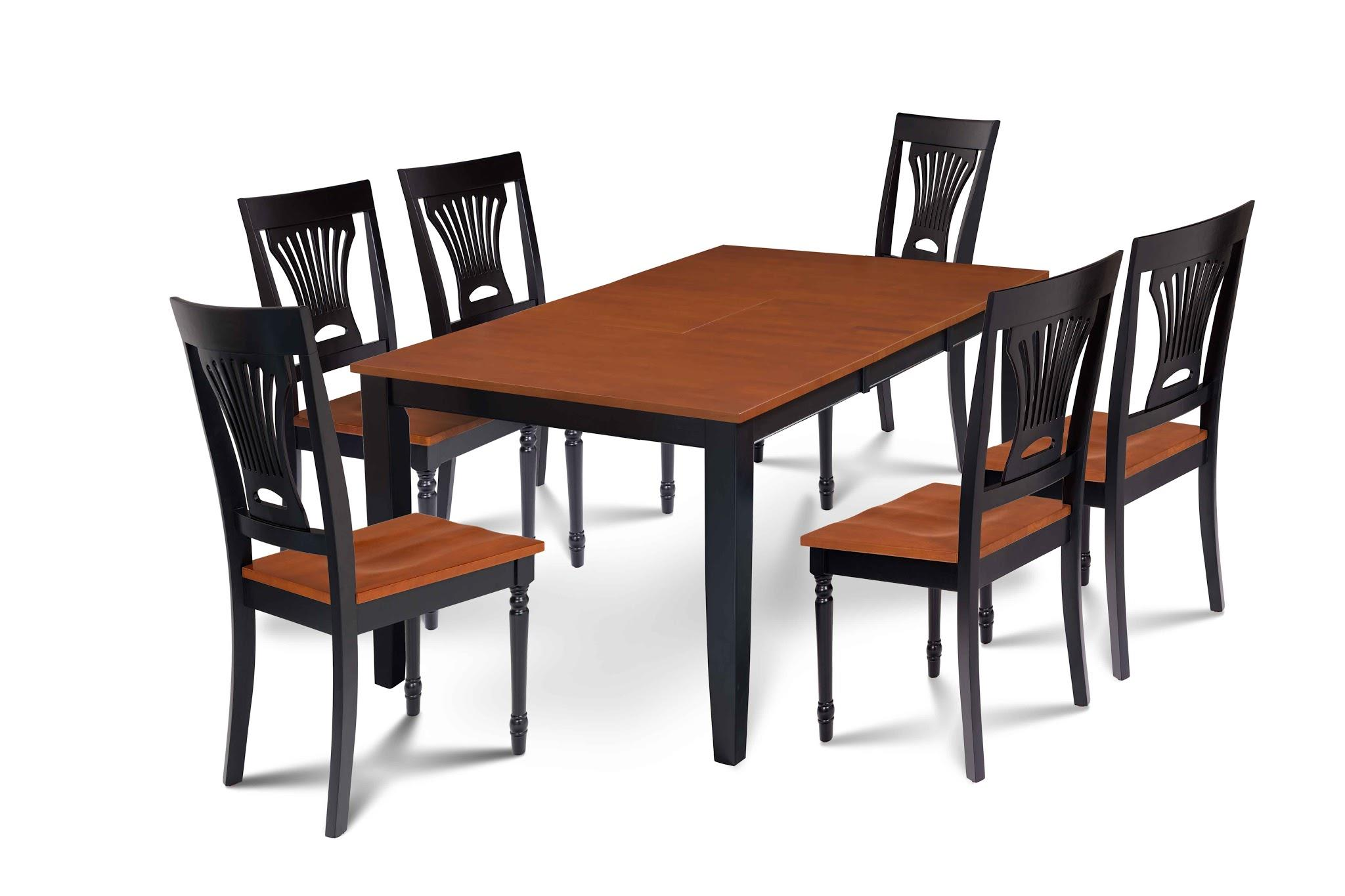 7 Piece Dining Room Set Table With A Butterfly Leaf And 6 Dining Chairs-Finish:Black Cherry,Shape:Rectangular by M&D Furniture