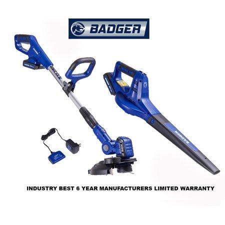 Badger 20-Volt Max Cordless Lithium-ion String Trimmer/Edger & Blower Combo Kit