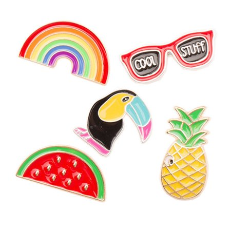 Brooches For Dresses - 5pcs Cartoon Brooch Pins Alloy Breastpin Jewelry Gift For Dress Decoration (Rainbow + Glasses + Bird + Watermelon + Pineapple)