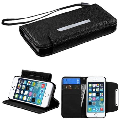 Insten Black Color PU Leather MyJacket Wallet Stand Protective Case Cover For iPhone SE 5S 5 5th
