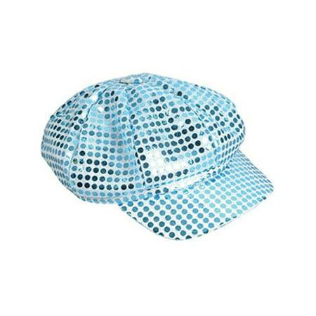 Funky Retro Blue Costume Sequin Newsboy Baseball Hat - News Boy Costume