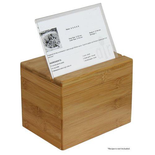Oceanstar Bamboo Recipe Box With Divider Walmart Com Walmart Com