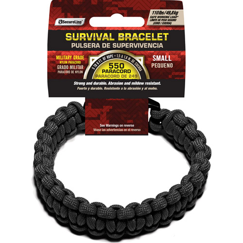 "SecureLine 550 lb Military Grade Paracord Survival Bracelet, Small, 7.5"", Black"