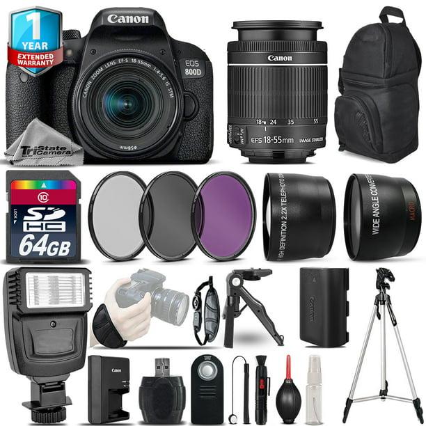 Canon EOS Rebel 800D DSLR Camera + 18-55mm IS STM +1yr Warranty -Ultimate Bundle