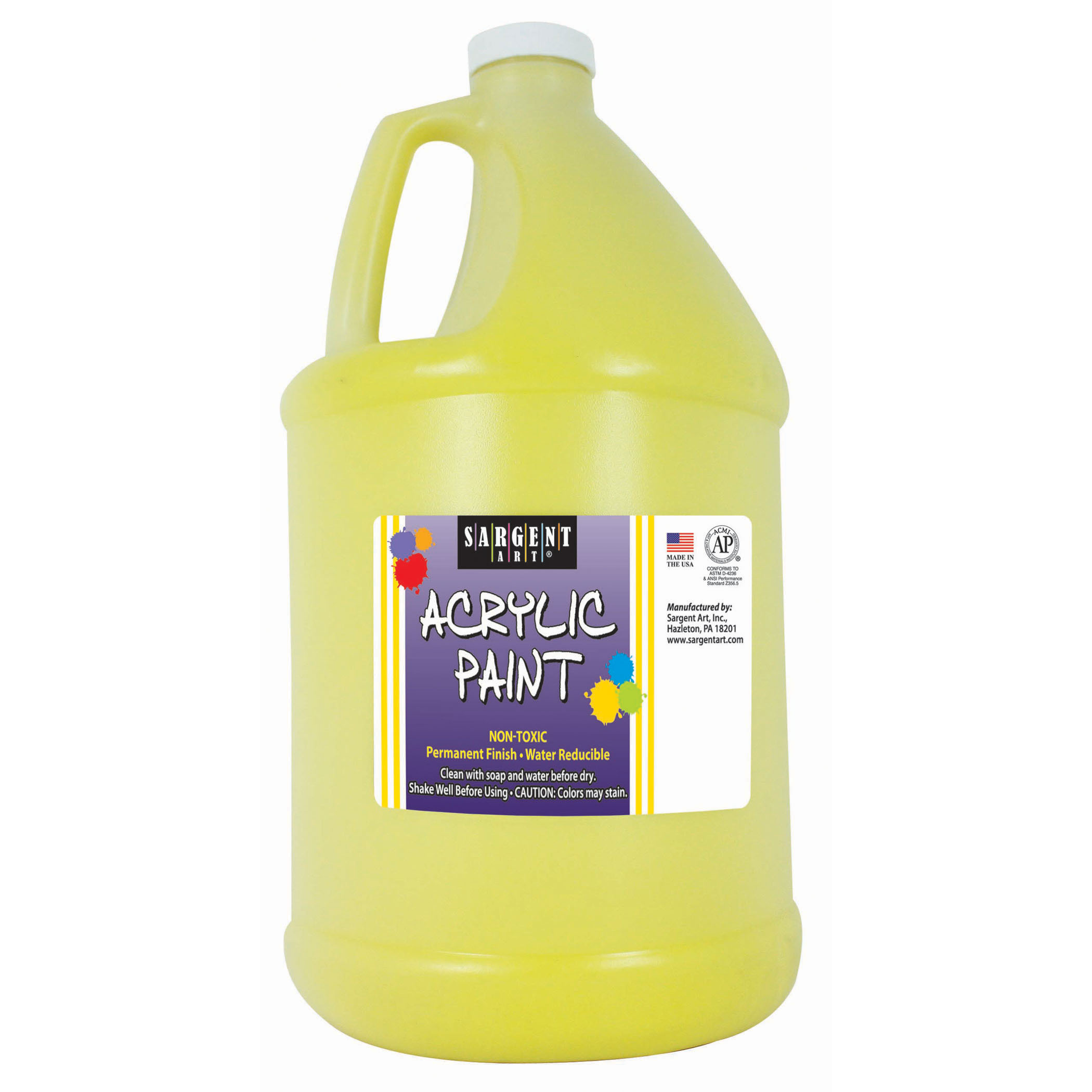Sargent Art® Acrylic Paint, Yellow, 64 oz. Bottle (Half Gallon)