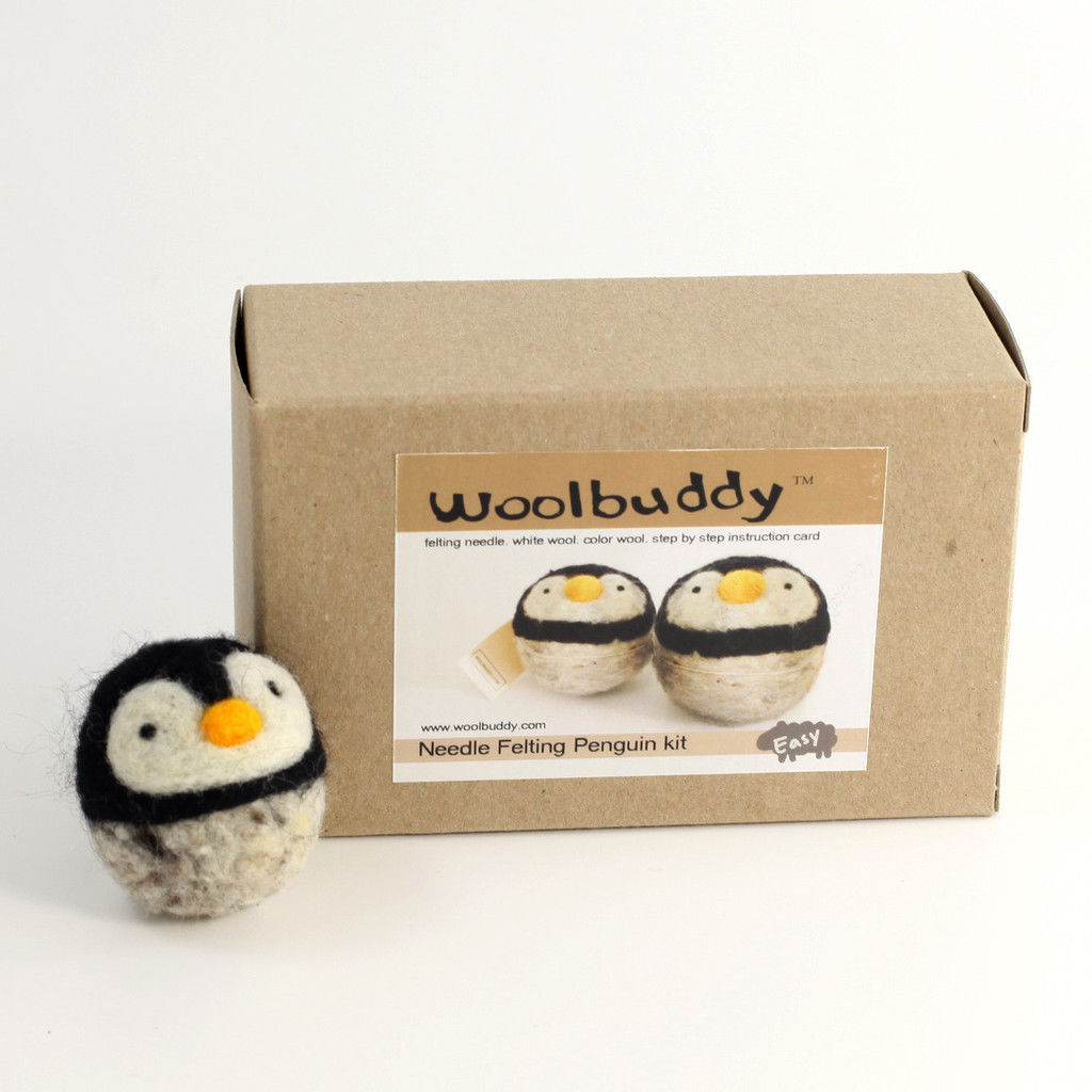 Woolbuddy Penguin Wool Felting Needle Point Kit Crafting Gift