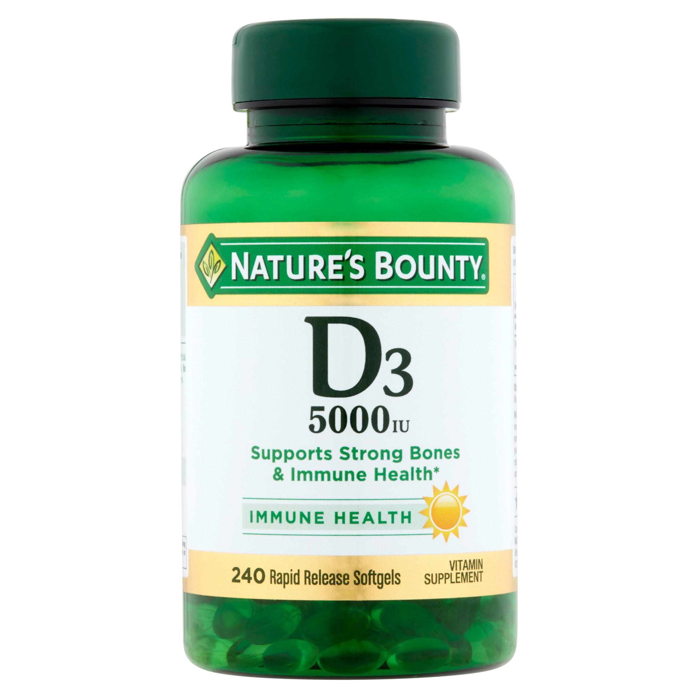 Nature's Bounty D3, 5000 IU Rapid Release Softgels, 200ct