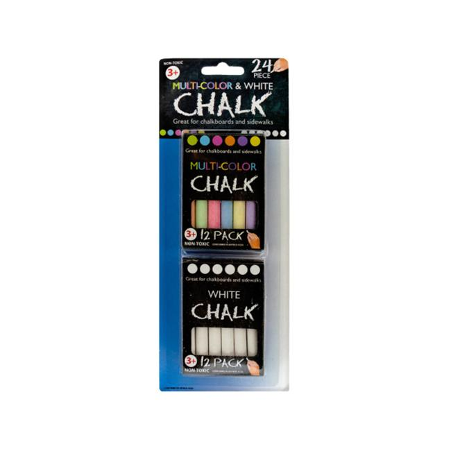 Bulk Buys GM821-24 Multi-Color and White Chalk Set
