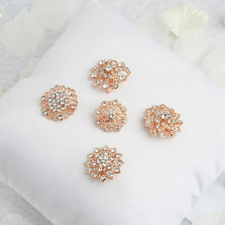 BalsaCircle 5 Rose Gold Mandala Designs Rhinestones Assorted Floral Pins Brooches - Wedding Reception Dinner Decorations Supplies