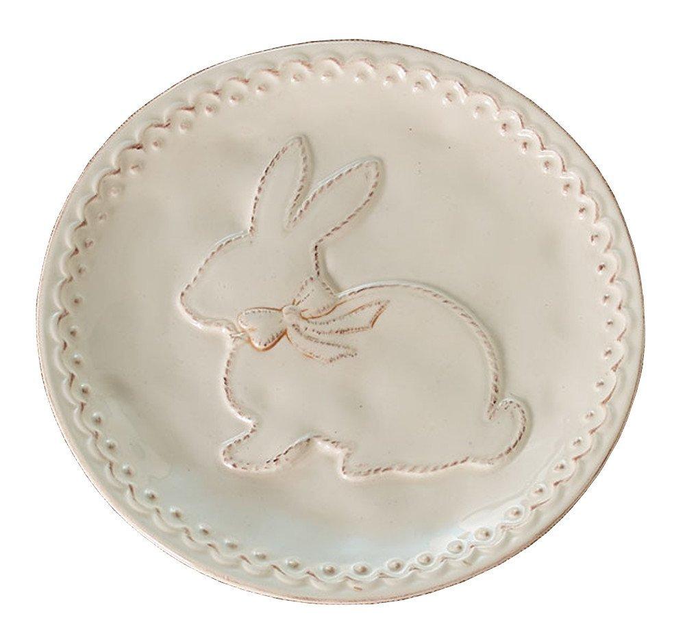 "Burton & Burton Raised Easter Bunny Ceramic Salad Size Plate, Cream, 8.25"""