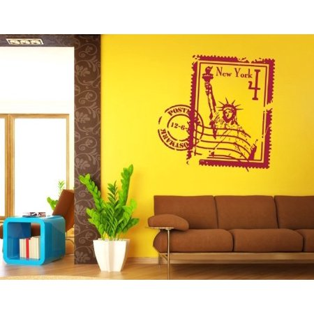 New York Stamp with Statue of Liberty Wall Decal wall decal sticker mu