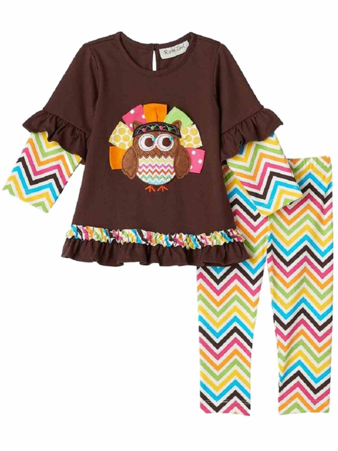 Rare Too! Infant Girls 2 PC Turkey Owl Thanksgiving Outfit Shirt ...
