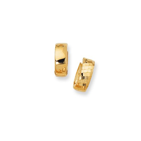 14K Yellow Gold Diamond Cut 5mm Textured Snuggable Earrings with Diamonds Pattern by IcedTime