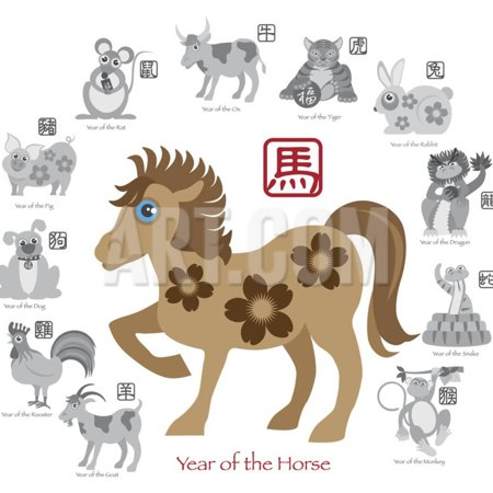 Chinese Horse Stone (Chinese New Year Horse Color with Twelve Zodiacs Illustration Print Wall Art By)