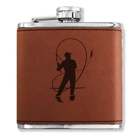 Faux Leather Flask - Fly Fisherman - Dark Brown ()