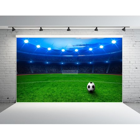 HelloDecor Polyster 7x5ft Football Field Backdrops for Photographers Night Scene Backdrop Soccer Photo Studio Background (Scene Backdrops)