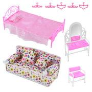 PANDAIN 8 Items Princess Furniture Accessories Kids Gift 1x Dresser Set + 1x Bed Set + 1x Sofa Set + 5x Barbie Doll Hangers