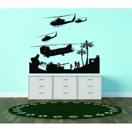 Custom Wall Decal   Troops Fighting Vision Chopper Firearm Wall Sticker   24 X24