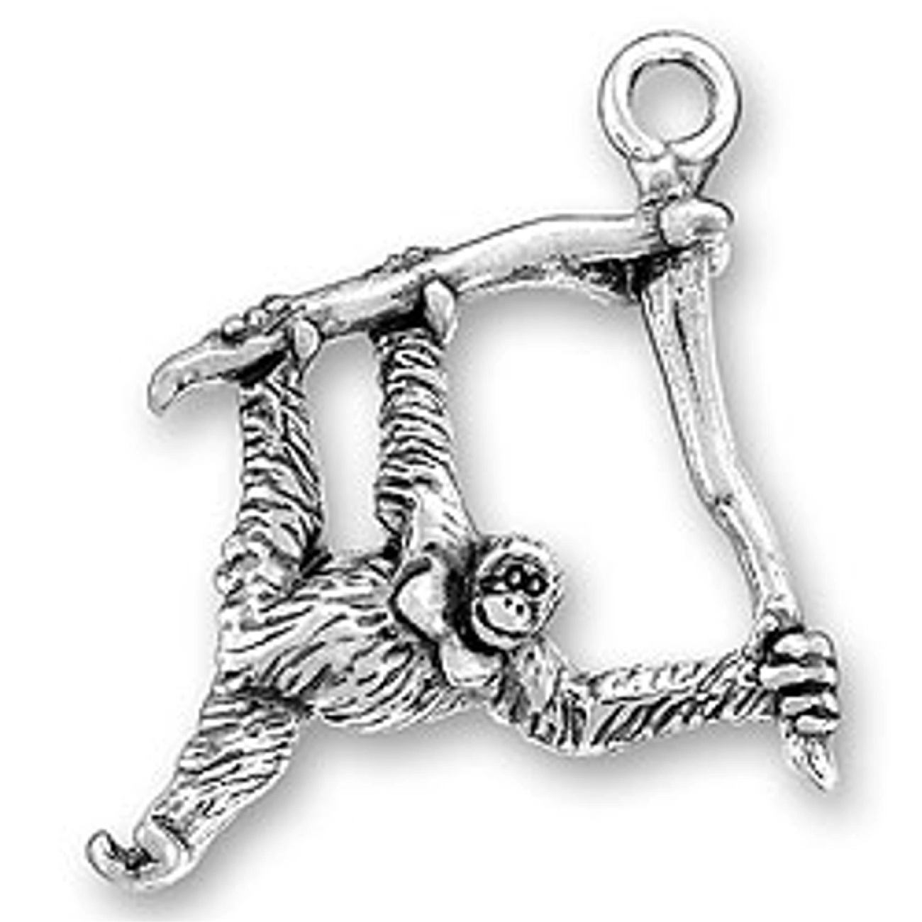 Sterling Silver Girls .8mm Box Chain 3D Monkey Hanging On Tree Branch Pendant Necklace