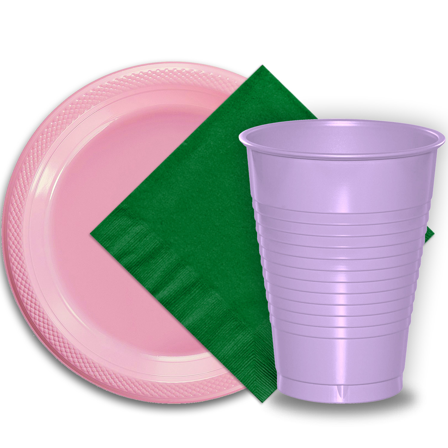 "50 Pink Plastic Plates (9""), 50 Lavender Plastic Cups (12 oz.), and 50 Emerald Green Paper Napkins, Dazzelling Colored Disposable Party Supplies Tableware Set for Fifty Guests."