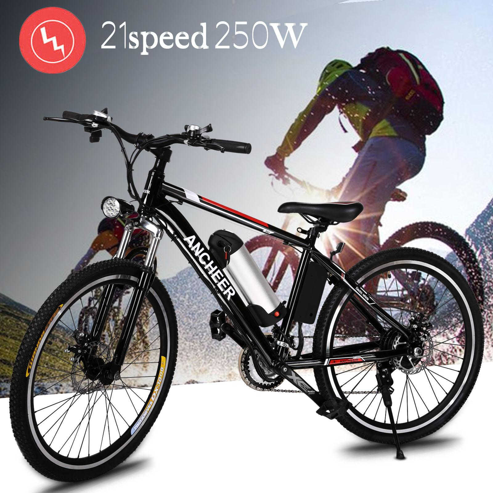 CLEARANCE for Holiday! ANCHEER Power Plus Electric Bicycle Mountain Bicycle Bike E-bike with Removable Lithium-Ion Battery Charger ECBY