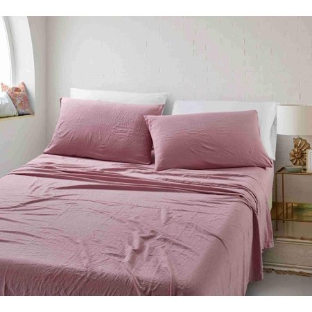 California Design Den Ultra Soft Stonewashed Sheet Set Microfiber Pink, Cal King 4 (Difference Between King And California King Bed Sheets)