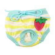 Pet Dog Puppy Yellow White Striped Adjustable Waist Diaper Pants Underwear L