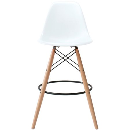 Astounding 2Xhome 25 Seat Height Modern Chair Plastic Bar Stool Counter Stools With Back Eiffel Chairs Natural Wood Legs White Uwap Interior Chair Design Uwaporg