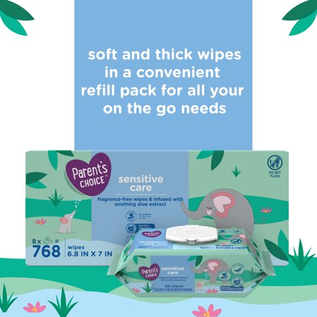 Parent's Choice Sensitive Care Aloe Baby Wipes, 8 Flip-Top Packs (768 Total Wipes)