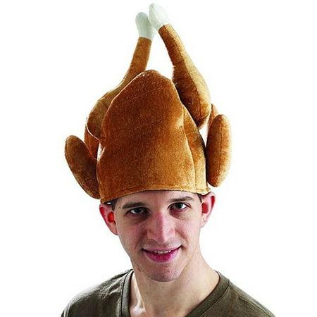 Adult Plush Roasted Turkey Hat Christmas Dinner Chef Costume Turkey Trot Hat