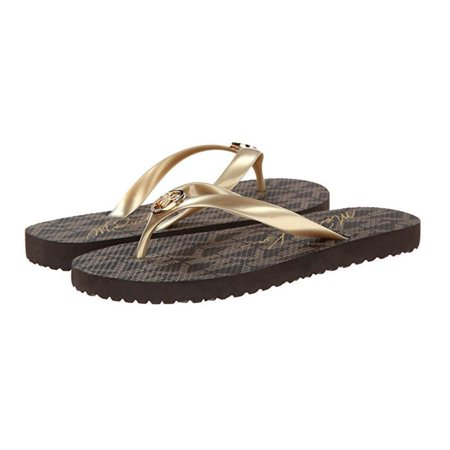 Michael Kors Jet Set Rubber Women Flip Flops Gold, - Michael Kors Gold Sandals