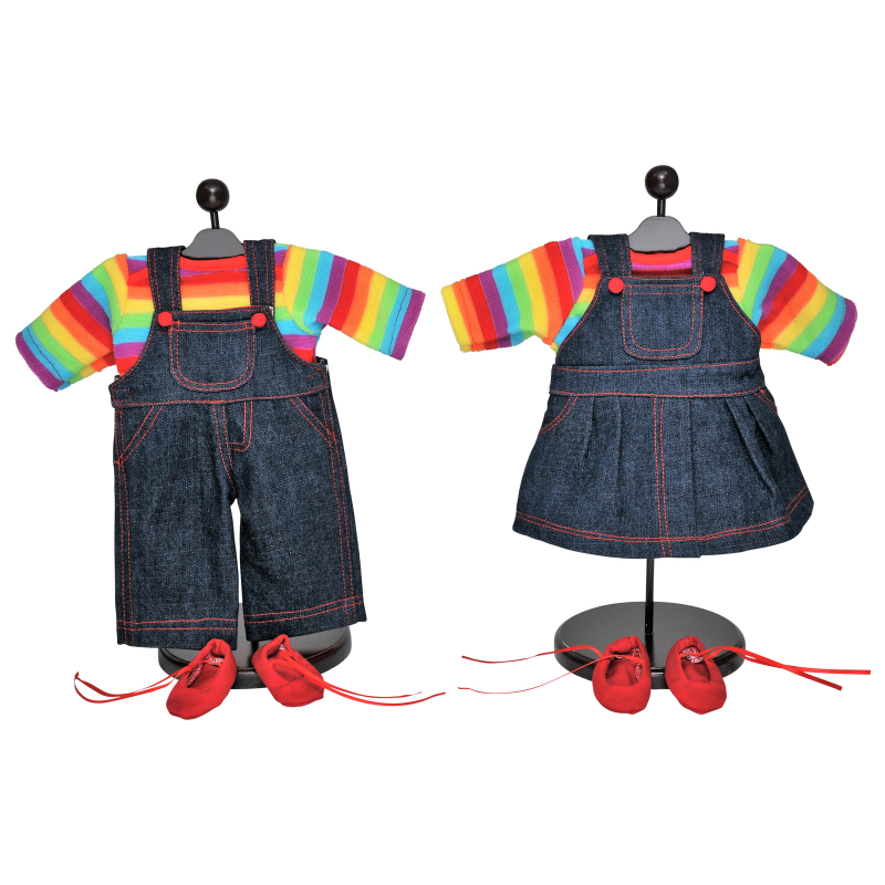Set of Two 15 Inch Doll Clothes for Bitty Twins Rainbow. Outfit Skirt & Overalls, 2 Shirt and 2 Pair Shoes