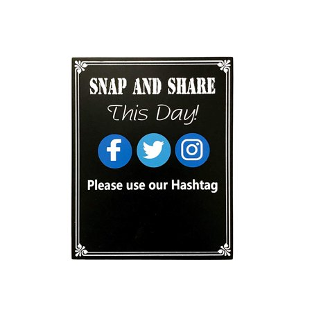 JennyGems - Snap And Share This Day Use Our Hashtag - Hashtag Sign - Media Sign - Wedding Chalkboard Ceremony Receptions Signs - Birthday Anniversaries Graduation Party Special Event- Positive - Graduation Ceremony Ideas