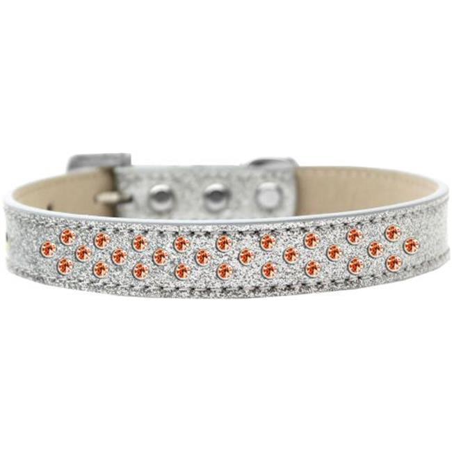 Sprinkles Ice Cream Dog Collar Orange Crystals Size 16 Silver