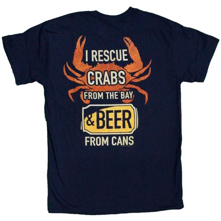 Men's Crab Lovers I Rescue Crabs and Beer Funny T-Shirt
