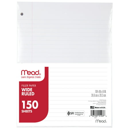 - Mead Filler Paper, Wide Ruled, 150CT