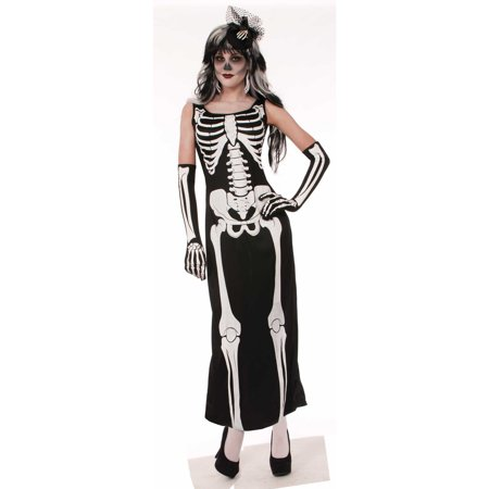 Womens Bone Long Dress Halloween Costume