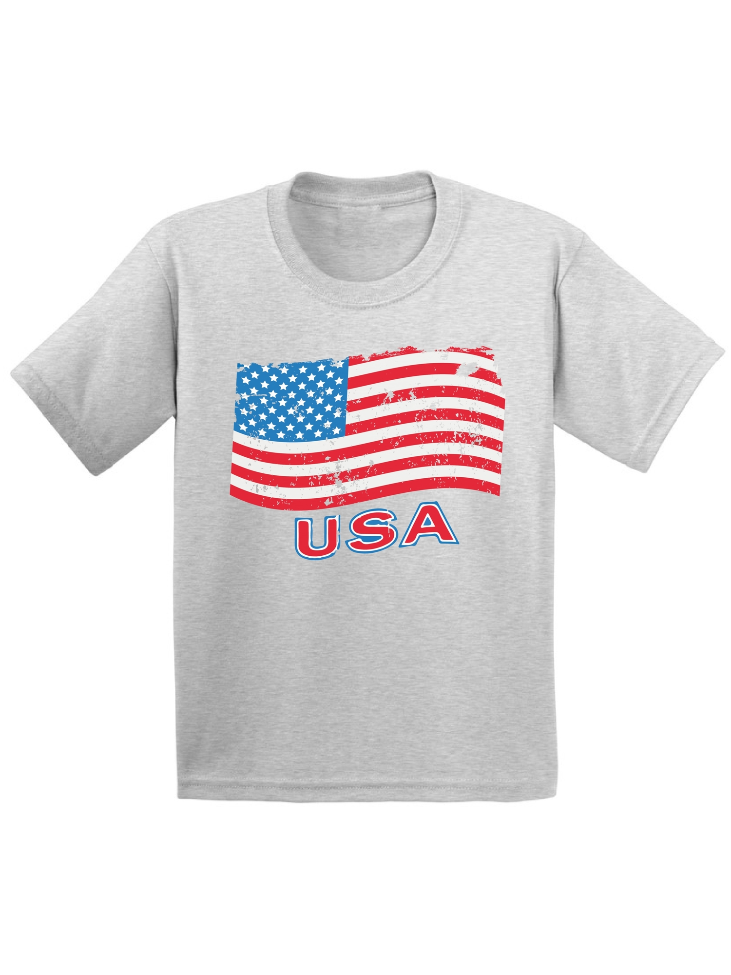Distressed American Flag Texas Flag Kids Crew Neck Short Sleeve Shirt T-Shirt for Toddlers